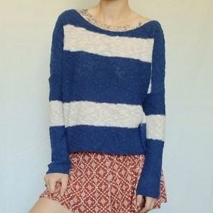 ROXY knit pullover sweater | striped blue & white